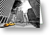 The Rocks Greeting Cards - Falling Lines - Rockefeller Center Greeting Card by Thomas Splietker
