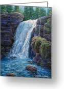 Realistic Pastels Greeting Cards - Falls at Twilight  Greeting Card by Tanja Ware
