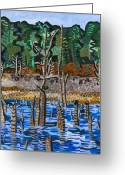 Carolina Painting Greeting Cards - Falls Lake at Six Forks Road Greeting Card by Micah Mullen