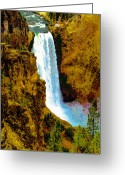 Yellowstone Landscape Art Greeting Cards - Falls of the Yellowstone Greeting Card by David Lee Thompson