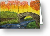 Split Rail Fence Painting Greeting Cards - Falls Zenith Greeting Card by Wayne Knight