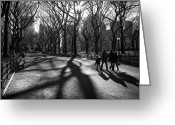 Manhattan Sunset Greeting Cards - Family at Central Park in New York City Greeting Card by Ilker Goksen