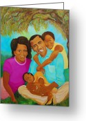 President Obama Greeting Cards - Family First Greeting Card by Kenji Tanner