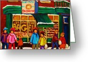 Store Fronts Greeting Cards - Family  Fun At St. Viateur Bagel Greeting Card by Carole Spandau