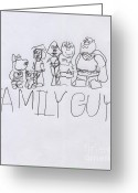 Autistic Greeting Cards - Family Guy Pencil Sketch Greeting Card by Vincent Gitto