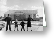 Mother Of Four Greeting Cards - Family Holding Hands, Looking At A House For Sale (1950) Greeting Card by Archive Holdings Inc.