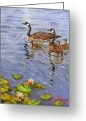 Geese Greeting Cards - Family Outing Greeting Card by Jeff Brimley