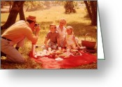 Mother Of Four Greeting Cards - Family Picnic Greeting Card by Fpg