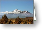 White Clouds Greeting Cards - Family Portrait - Mount Shasta and Shastina Northern California Greeting Card by Christine Till