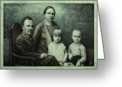 Surrealism Drawings Greeting Cards - Family Portrait Greeting Card by James W Johnson