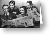 Mother Of Four Greeting Cards - Family Reading Newspaper Greeting Card by George Marks