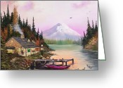 Cabin Window Painting Greeting Cards - Family Retreat Greeting Card by Alex Izatt