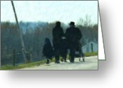 Amish Family Greeting Cards - Family Time Greeting Card by Debbi Granruth
