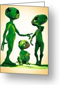 Outer Space Greeting Cards - Family Vacation Greeting Card by Bob Orsillo