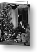 Mother Of Four Greeting Cards - Family With Two Children (6-9) Sitting At Christmas Tree, (b&w) Greeting Card by George Marks