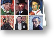 Reproductions Greeting Cards - Famous Artist Self Portraits Greeting Card by Tom Roderick