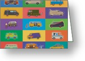 Illustration Greeting Cards - Famous Vans Greeting Card by Mitch Frey