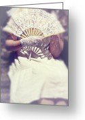 Shade Greeting Cards - Fan And Lace Gloves Greeting Card by Joana Kruse