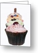 Junk Greeting Cards - Fancy cupcakes Greeting Card by Jane Rix