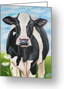 Cow Greeting Cards - Fancy Fiona Greeting Card by Laura Carey