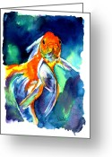 Carp Greeting Cards - Fancy Goldfish Greeting Card by Christy  Freeman