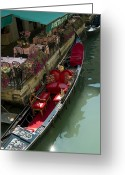 European Union Greeting Cards - Fancy Gondola Parked In A Canal Next Greeting Card by Todd Gipstein
