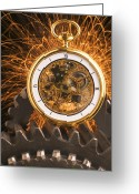 Watches Greeting Cards - Fancy Pocketwatch On Gears Greeting Card by Garry Gay