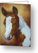 Mammals Pastels Greeting Cards - Fancy Portrait Greeting Card by Margaret Stockdale