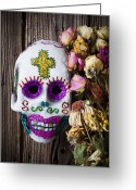 Teeth Greeting Cards - Fancy skull and dead flowers Greeting Card by Garry Gay