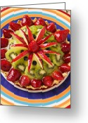 Plates Greeting Cards - Fancy tart pie Greeting Card by Garry Gay