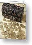 Coin Greeting Cards - Fancy Treasure Chest  Greeting Card by Garry Gay