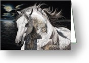 White White Horse Pastels Greeting Cards - Fandango - PRE Stallion Greeting Card by Sabine Lackner