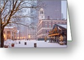 Snow Storm Greeting Cards - Faneuil Hall in Snow Greeting Card by Susan Cole Kelly