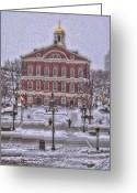 Faneuil Greeting Cards - Faneuil Hall Snow Greeting Card by Joann Vitali