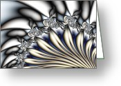 Gina Digital Art Greeting Cards - Fanfare - An Abstract Fractal Design Greeting Card by Gina Manley
