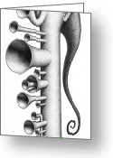Horns Greeting Cards - Fanfare Greeting Card by Shawn Feeney