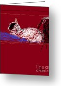 Cat Profile Greeting Cards - Fantasia on the Bookshelf 1 Greeting Card by Anita Dale Livaditis