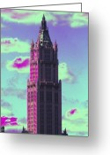 Woolworth Building Greeting Cards - Fantastical Woolworth Greeting Card by Christopher Kirby