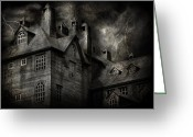 Scary Mansion Greeting Cards - Fantasy - Haunted - It was a dark and stormy night Greeting Card by Mike Savad