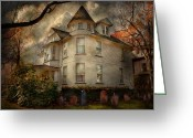 Autumn Scenes Greeting Cards - Fantasy - Haunted - The Caretakers House Greeting Card by Mike Savad