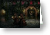 Lit Greeting Cards - Fantasy - Into the night Greeting Card by Mike Savad