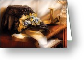Funeral Greeting Cards - Fantasy - The widows bonnet  Greeting Card by Mike Savad
