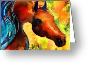 Equine Watercolor Portrait Greeting Cards - Fantasy arabian horse Greeting Card by Svetlana Novikova