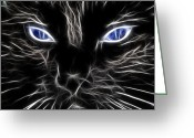 Eyes.fantasy Greeting Cards - Fantasy Black Cat Blue Eyes Greeting Card by Paul Ward