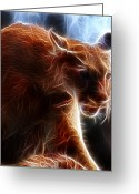 Fractalius Art Greeting Cards - Fantasy Cougar Greeting Card by Paul Ward