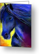 Blue Art Pastels Greeting Cards - Fantasy Friesian Horse painting print Greeting Card by Svetlana Novikova