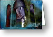 Angel Statue Greeting Cards - Fantasy Surreal Dreamy Angel Art Digital Painting Greeting Card by Kathy Fornal