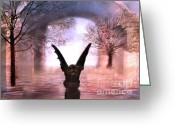 Scary Surreal Fantasy Art Greeting Cards - Fantasy Surreal Gothic Gargoyle  Greeting Card by Kathy Fornal
