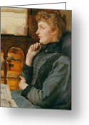 Pensive Greeting Cards - Far Away Thoughts Greeting Card by Sir Lawrence Alma-Tadema
