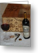 Wine Art Digital Art Greeting Cards - Far Niente Greeting Card by Wayne Sloop